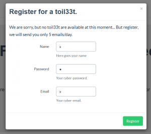 """Register with """"x"""""""