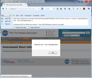 NASA PDS Reflected XSS