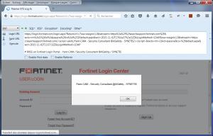 Fortinet SSO RXSS alert()