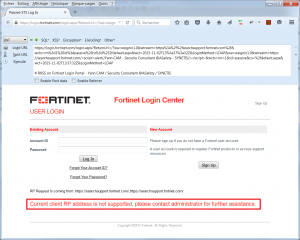 Fortinet SSO RXSS error message