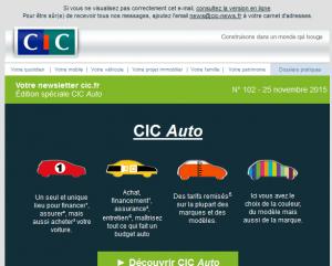 Extrait d'un email promotionnel du CIC