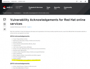 RedHat acknowledgement