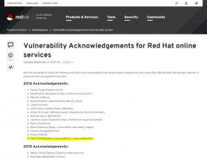 RedHat acknowledgement