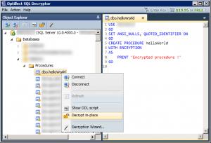 Déchiffrement d'un objet via Optillect SQL Decryptor