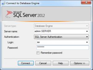 """Préfixer le """"Server name"""" de """"admin:"""" pour une connexion DAC"""