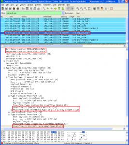 Récupération des SPI et algorithmes négociés en clair dans Wireshark