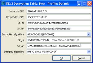 Table de déchiffrement IKEv2 remplie