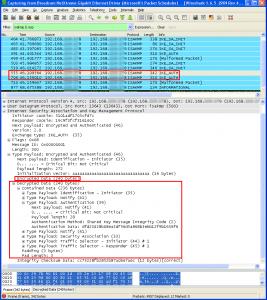 Payload IKEv2 déchiffrés au sein de Wireshark