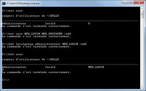 Création d'un compte administrateur en ligne de commande sous Windows