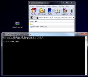 Encapsulation d'un fichier infectieux avec RTLO dans un .rar
